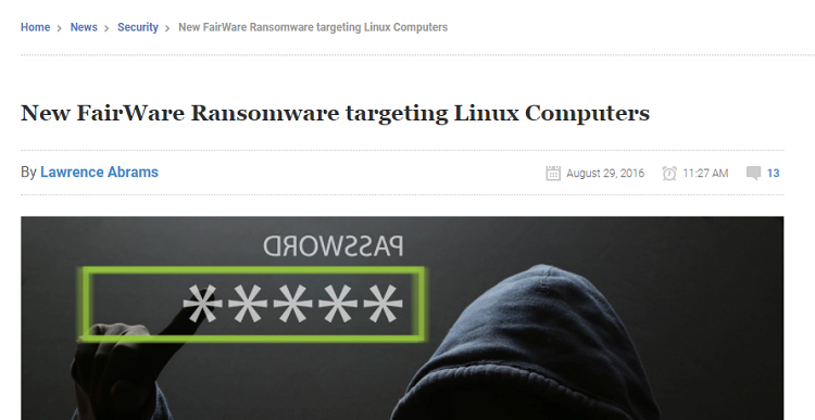 FairWare Ransomware targeting LINUX computers